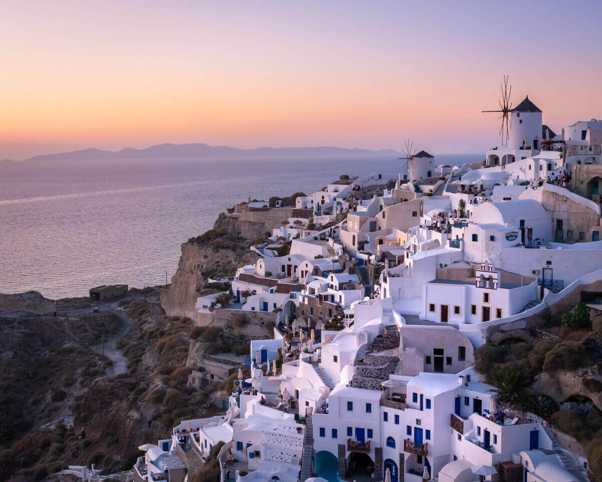 sunset at oia santorini in greece fine art photographs yaopey