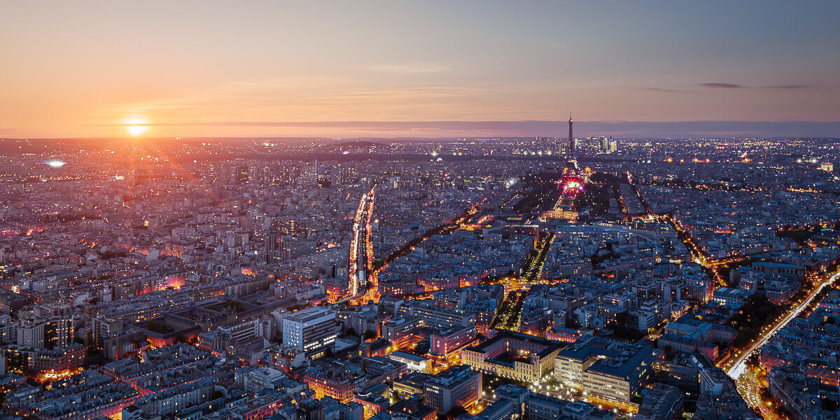 panoramic paris evening skyline from montparnasse tower - one night in paris